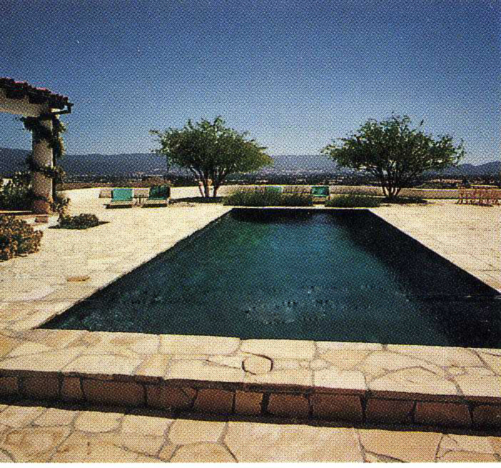 Spanish Colonial view of courtyard over looking the Santa Ynez Valley